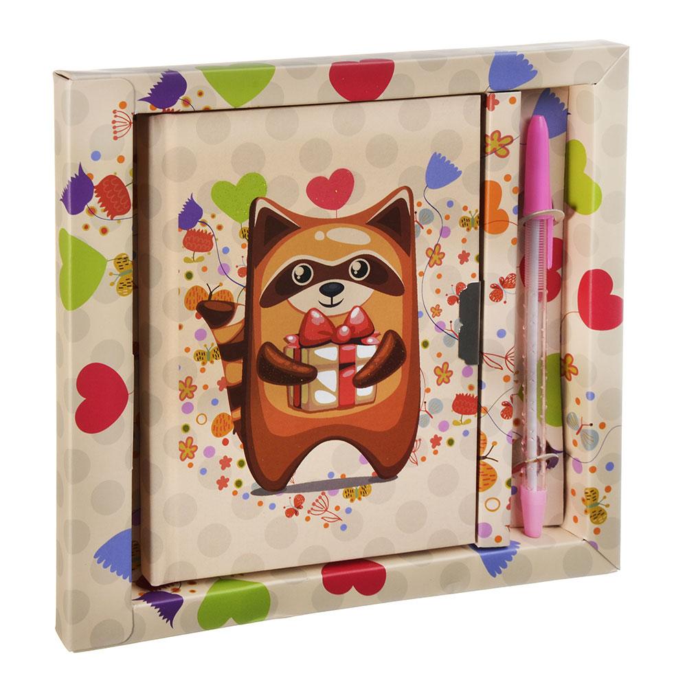 Еноты Набор подарочный (блокнот на замке и ручка) бумага, пластик, 19х18см