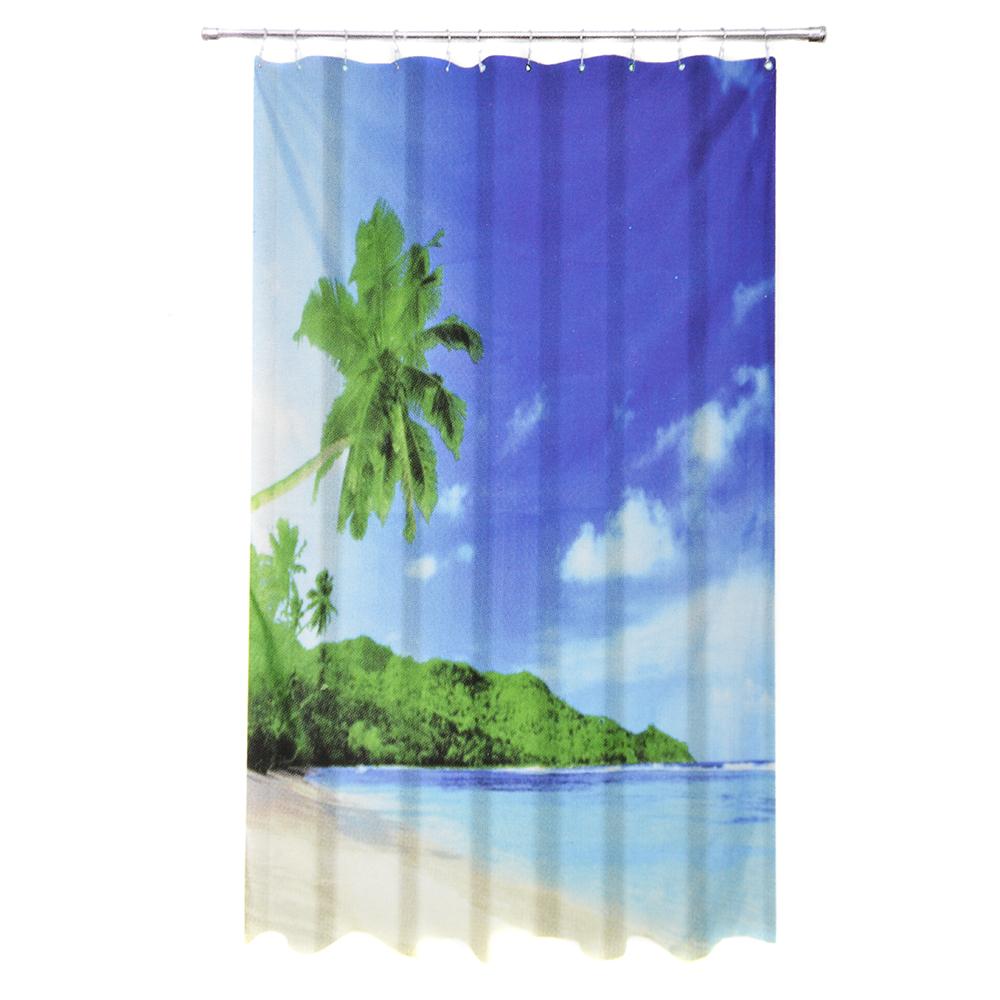 """VETTA Шторка для ванной, ткань полиэстер с утяжелит, 180x180см, """"Пальмы"""", Дизайн GC"""