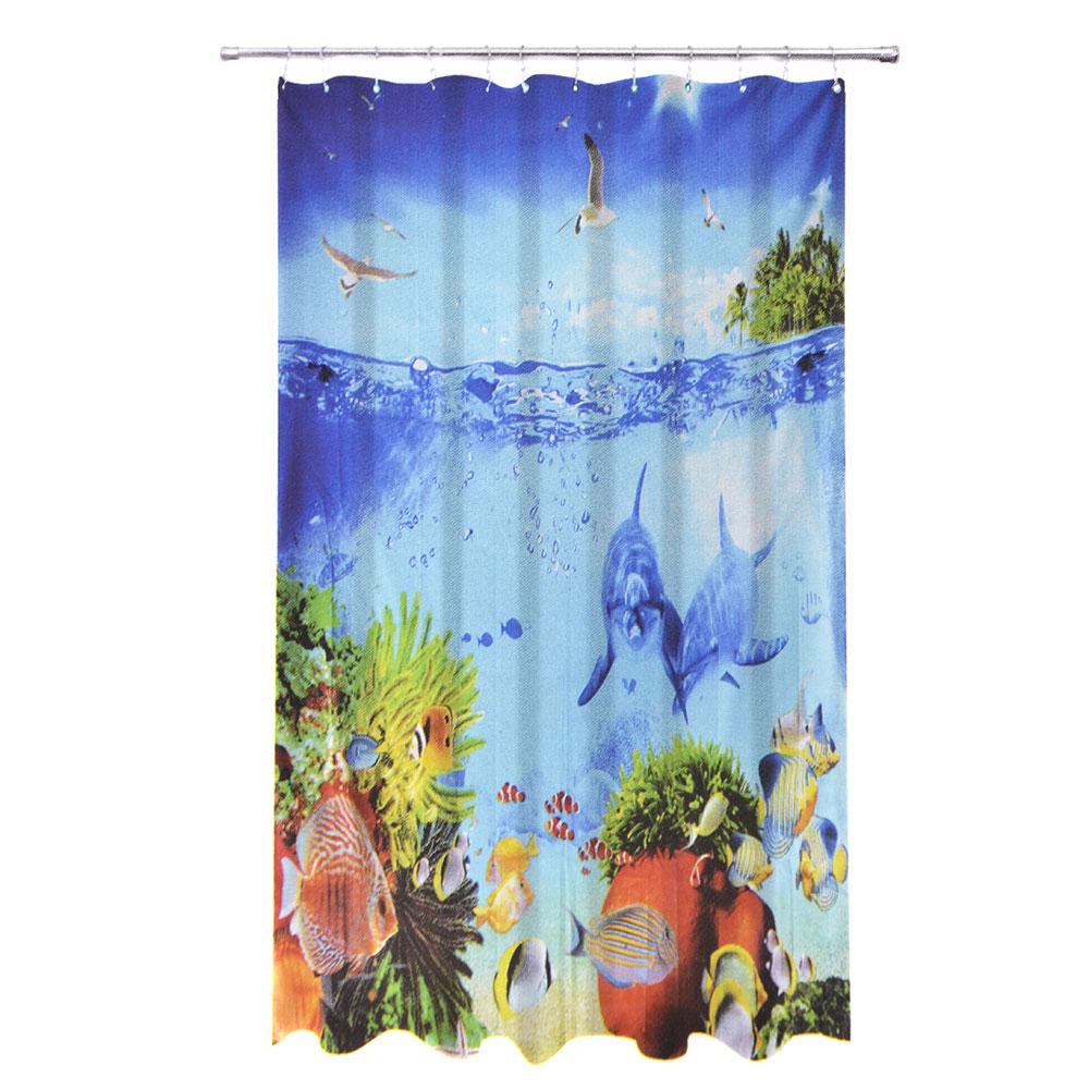"""VETTA Шторка для ванной, ткань полиэстер с утяжелит, 180x180см, """"Подводный мир"""", Дизайн GC"""