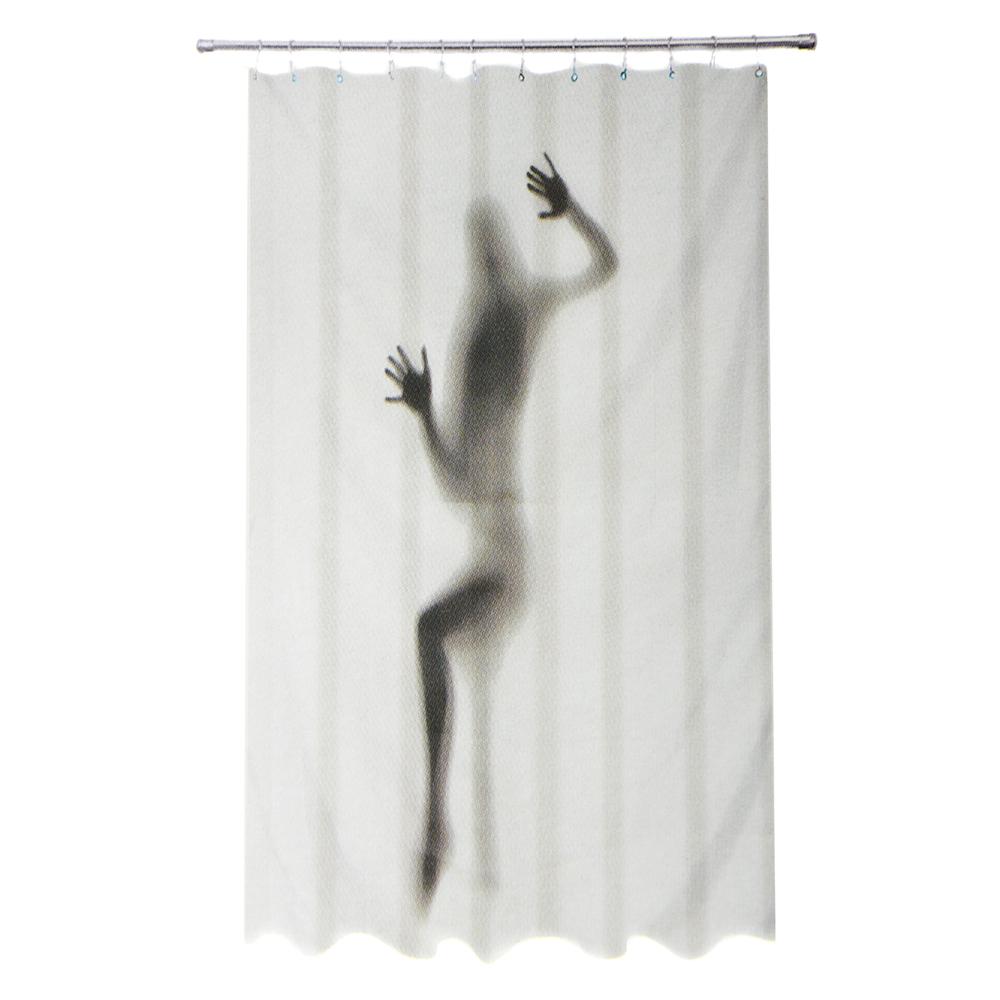 """VETTA Шторка для ванной, ткань полиэстер с утяжелит, 180x180см, """"Девушка-приведение"""", Дизайн GC"""