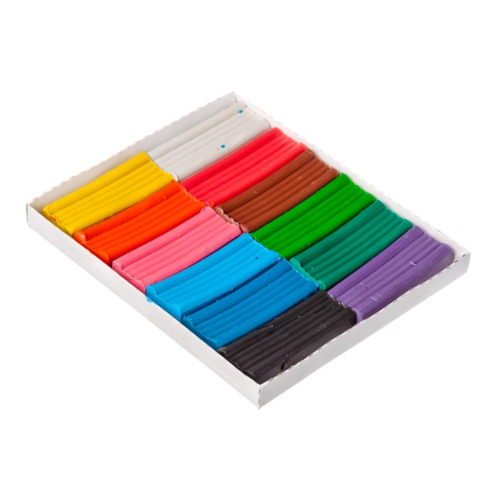 Пластилин 12 цветов 240 грамм в картонном выдвижном пенале, восковая основа