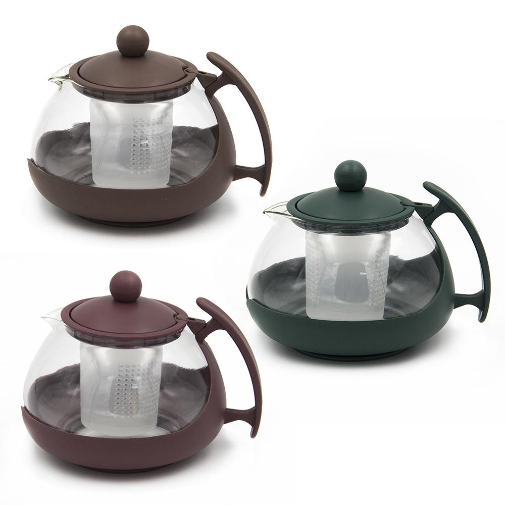 Чайник заварочный с пласт.сеточкой, 750мл, овальный, 3 цвета