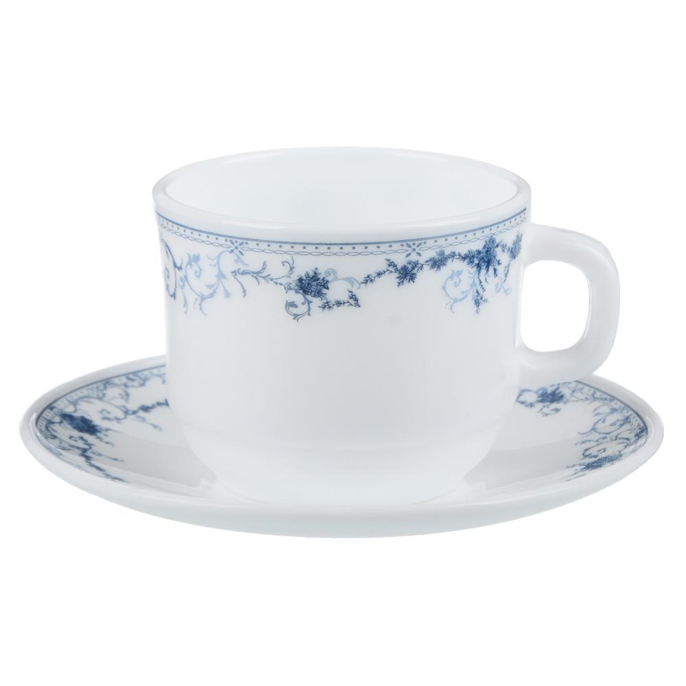 """Чайная пара: чашка 250 мл, блюдце 15 см, опаловое стекло, MILLIMI """"Бьянко"""""""