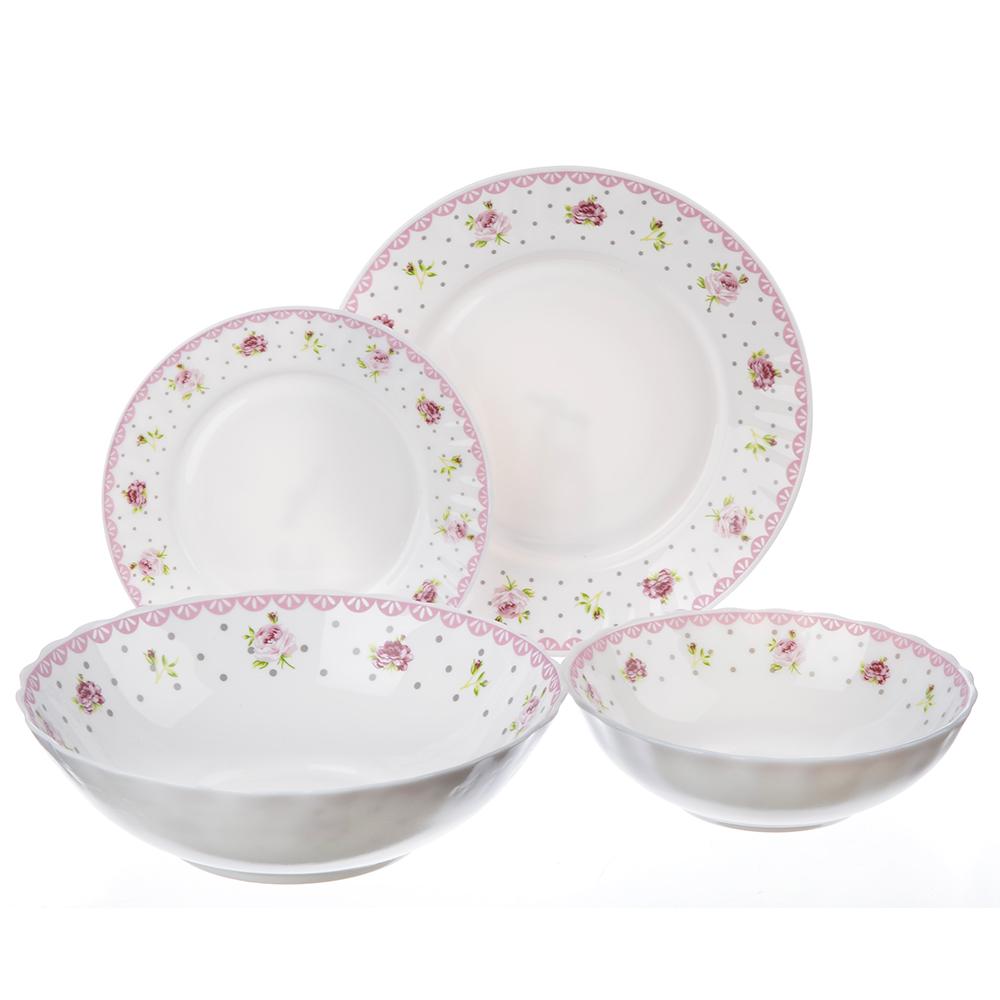"""Набор столовой посуды 19 предметов, опаловое стекло, MILLIMI """"Сабина"""""""