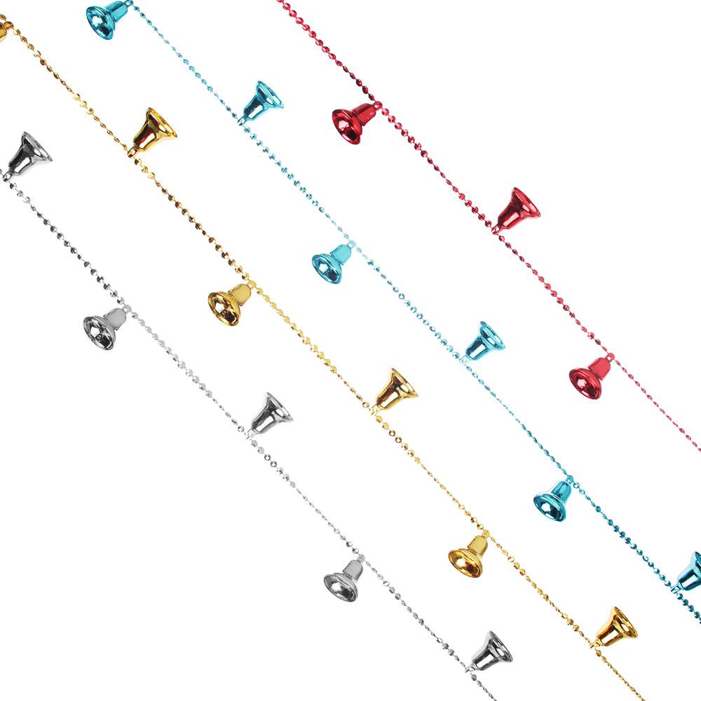 Бусы декоративные с колокольчиками СНОУ БУМ  200см, пластик, 4 цвета, VB4, VR1, VG2, VS