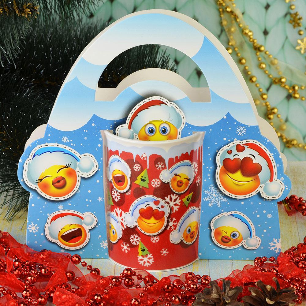 СНОУ БУМ Смайлики Кружка в подарочной упаковке, керамика, 350мл, Дизайн GC