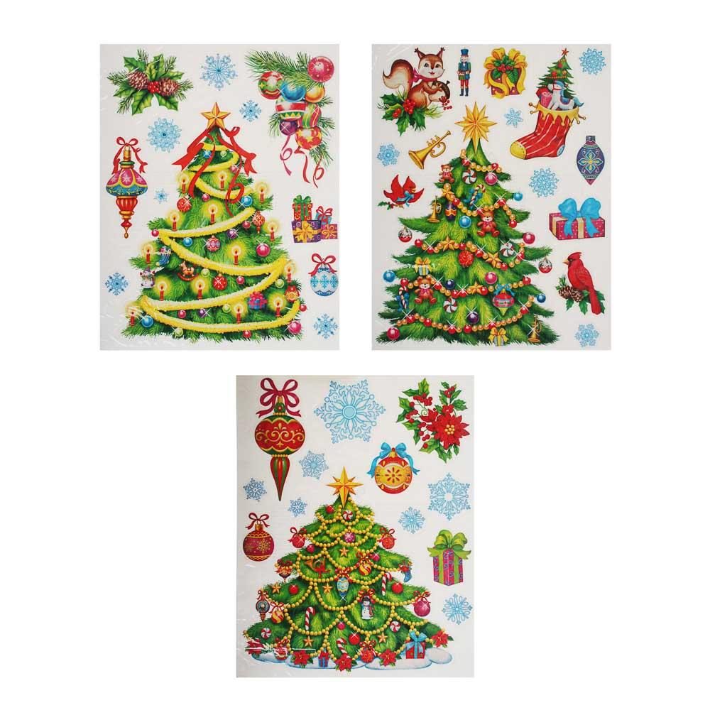 Новогодние наклейки СНОУ БУМ ПВХ с глиттером 30х42 см, 3 дизайна