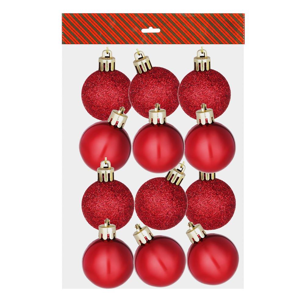 Елочные шары набор СНОУ БУМ 12шт, 4см, пластик, в пакете, красный