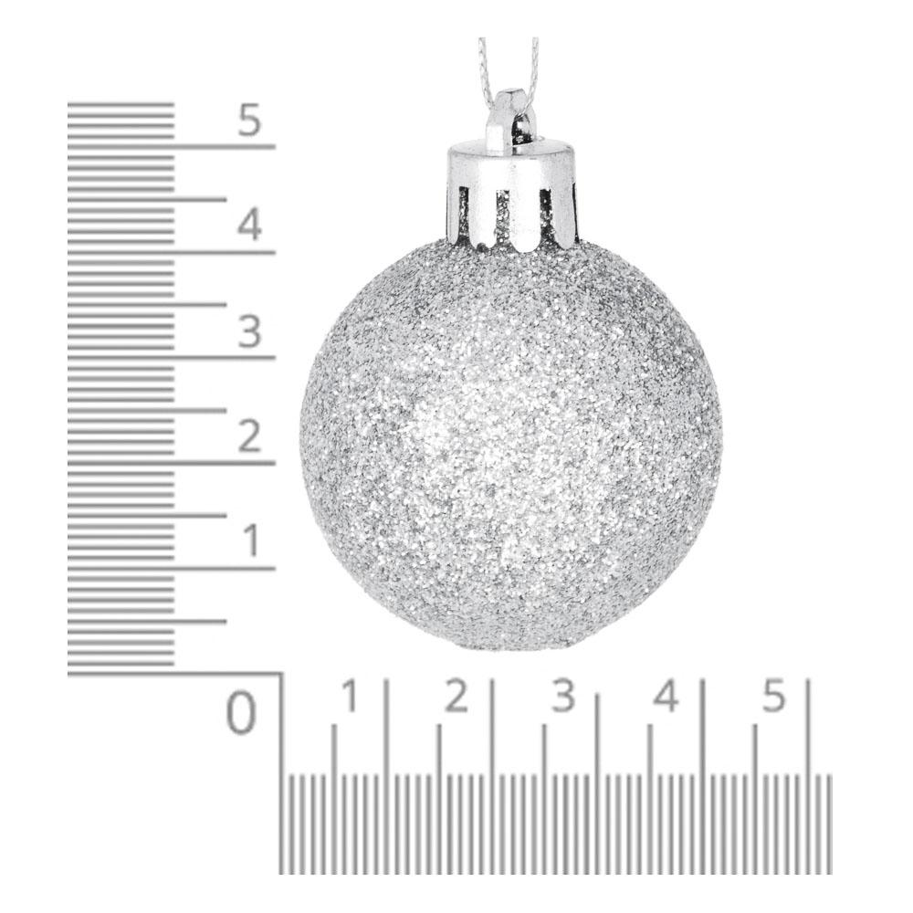 СНОУ БУМ Набор шаров 12шт, 4см, пластик, в пакете, серебро