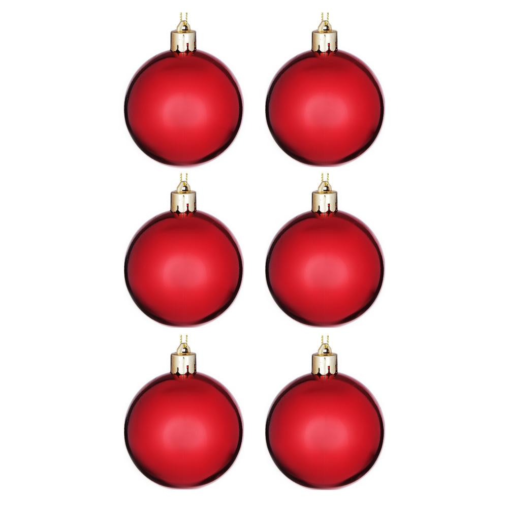 Елочные шары набор СНОУ БУМ 6шт, 6см, пластик, в пакете, красный, глянец
