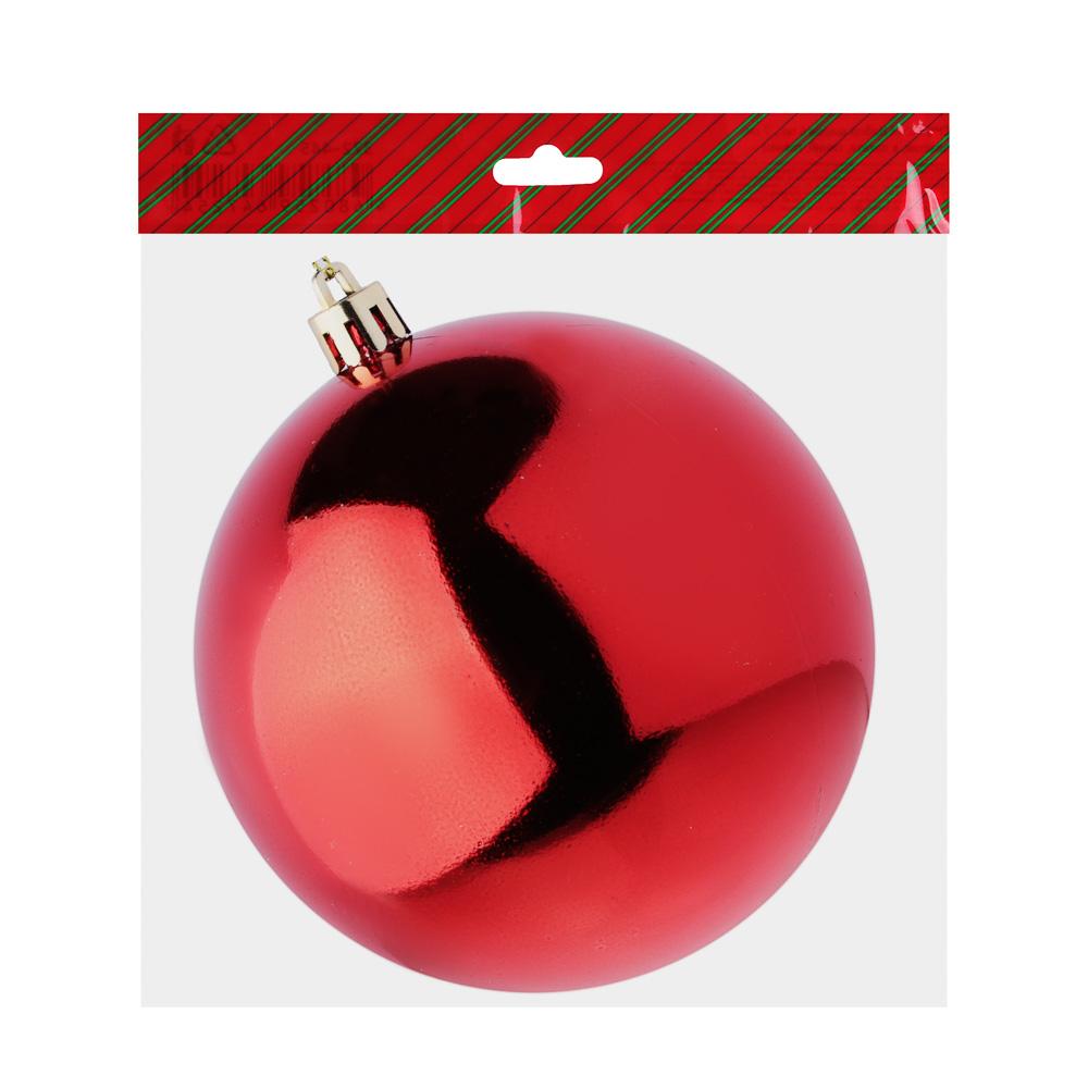 Елочный шар СНОУ БУМ 10 см, пластик, 1 шт, в пакете, красный
