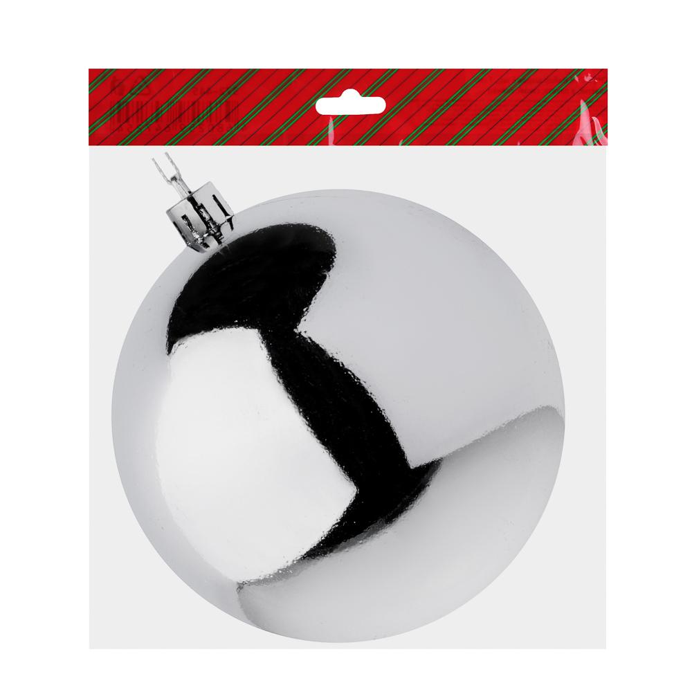 Елочный шар СНОУ БУМ 10 см, пластик, 1 шт, в пакете, серебро