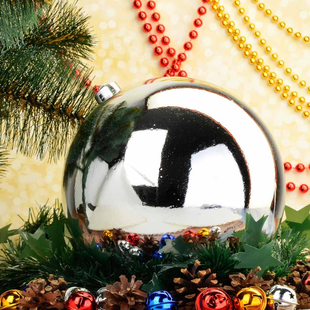 Елочный шар СНОУ БУМ 20 см, пластик, 1 шт, в пакете, серебро