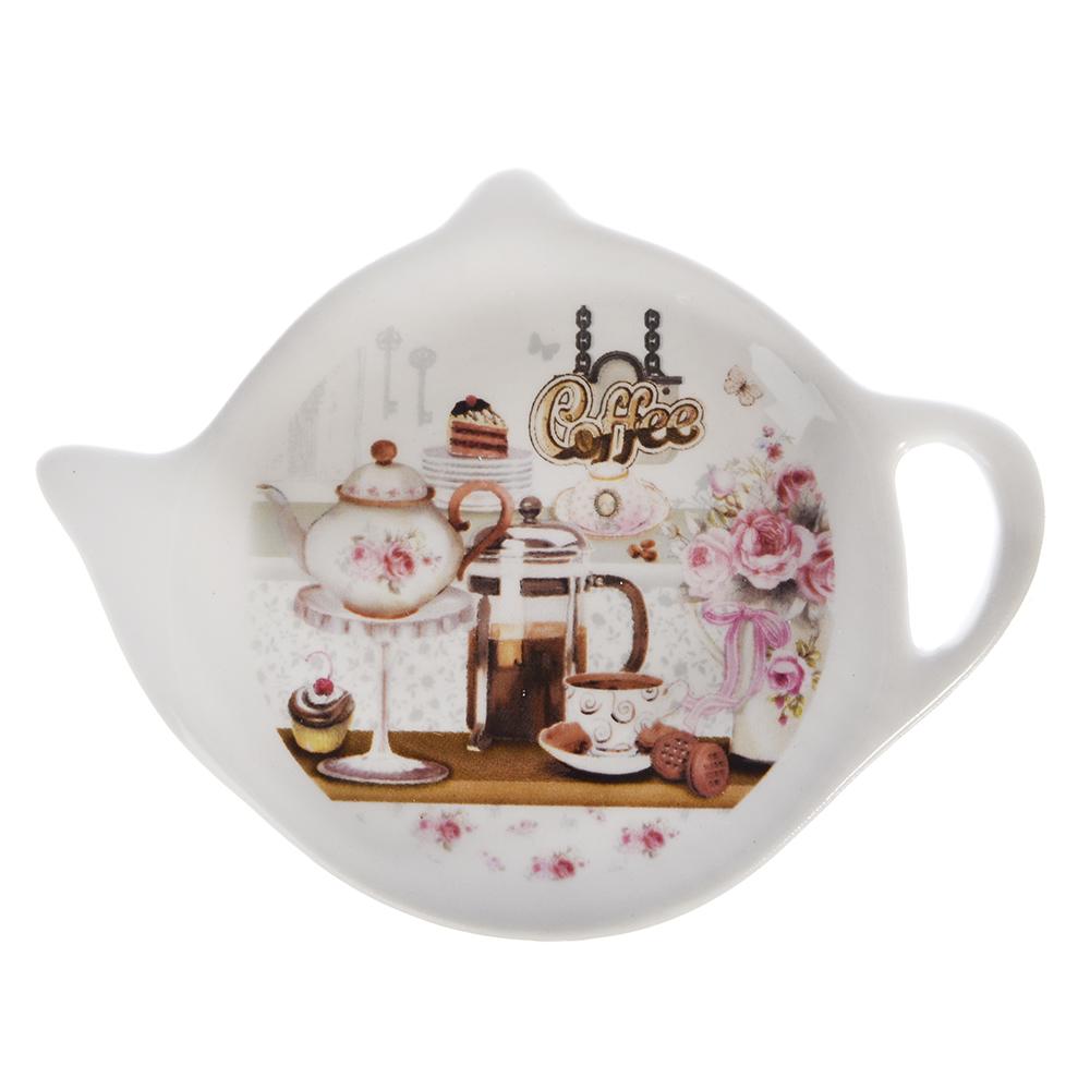 MILLIMI Кофейня Подставка для чайных пакетиков 12х8,4х1,5см, керамика