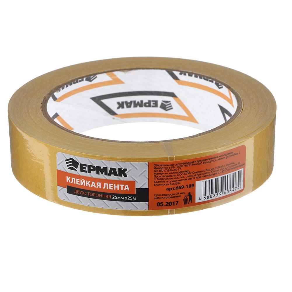 Клейкая лента двухсторонняя, полипропилен, 25 ммх25 м, инд.упаковка, ЕРМАК