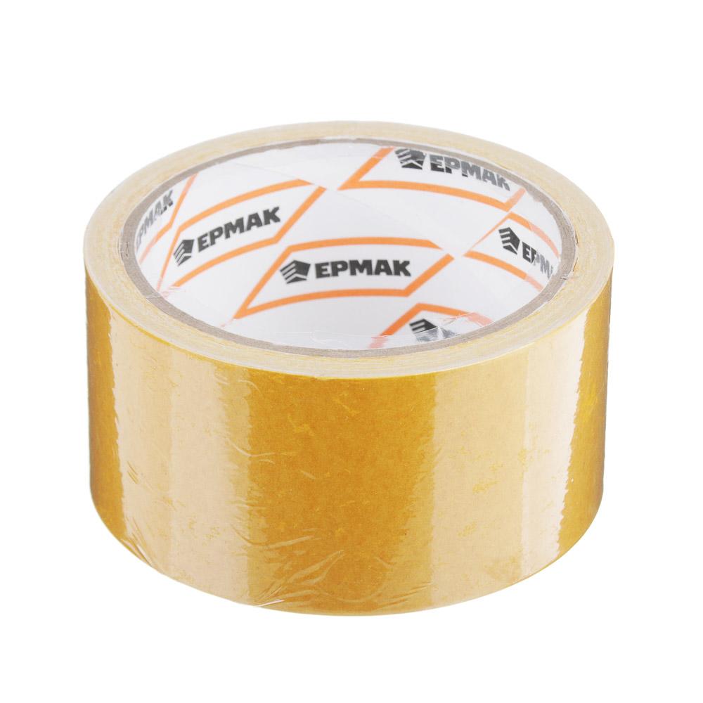 Клейкая лента двухсторонняя, полипропилен, 48 ммх10 м, инд.упаковка, ЕРМАК
