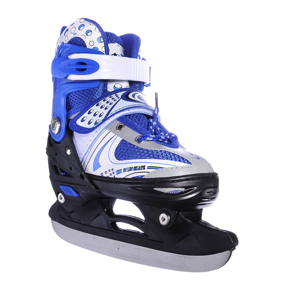 Коньки ледовые раздвижные S:29-33, синий, SILAPRO