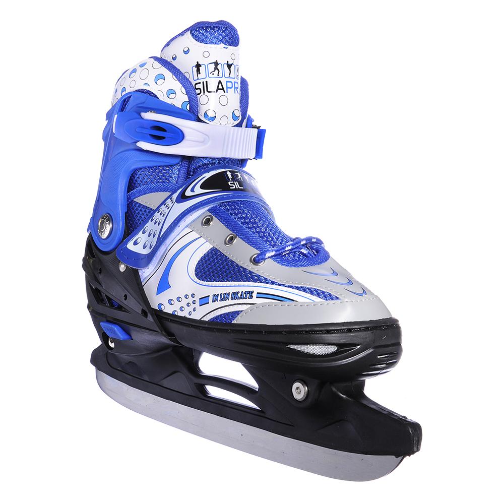 Коньки ледовые раздвижные L:39-43, синий, SILAPRO