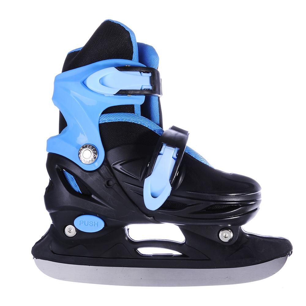 Коньки ледовые раздвижные S:31-34, сине-черный, SILAPRO