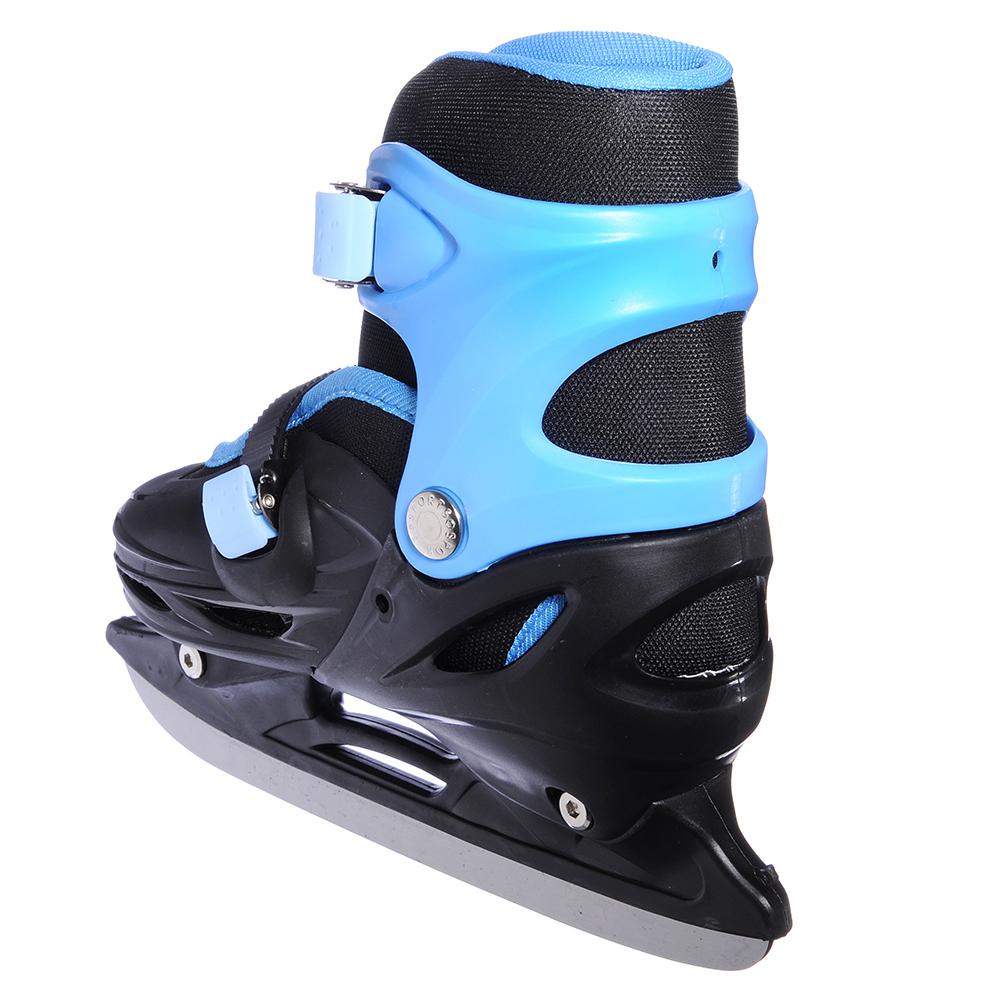Коньки ледовые раздвижные M:35-38, сине-черный, SILAPRO