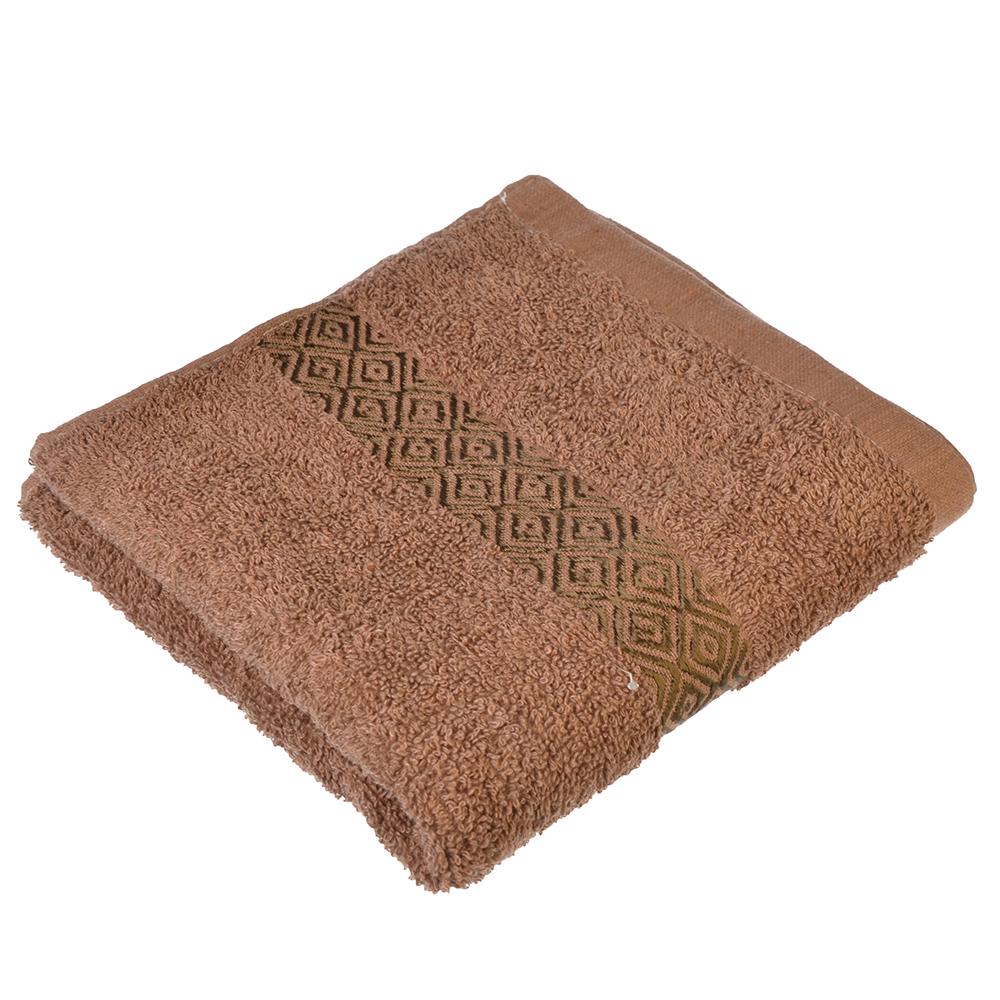 """Полотенце для лица махровое, хлопок, 50х100см, коричневое, """"Соты"""""""