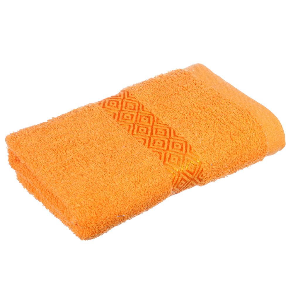 """Полотенце махровое, 100% хлопок, 50х100см, """"Соты"""", оранжевый"""