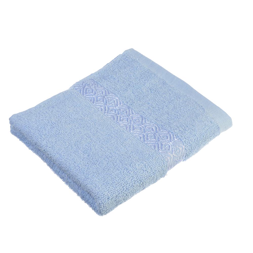 """Полотенце для лица махровое, хлопок, 50х100см, голубое,""""Соты"""""""
