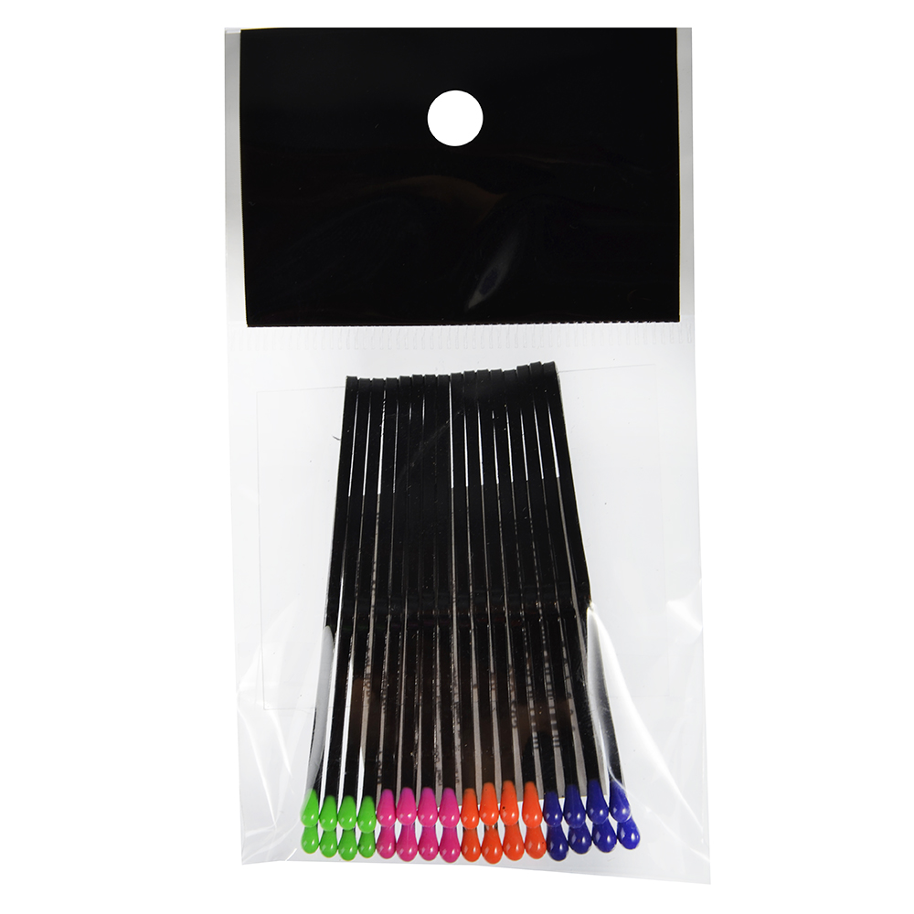 Набор невидимок для волос 16шт., 6 см, металл, PVC, черные с цветными наконечниками