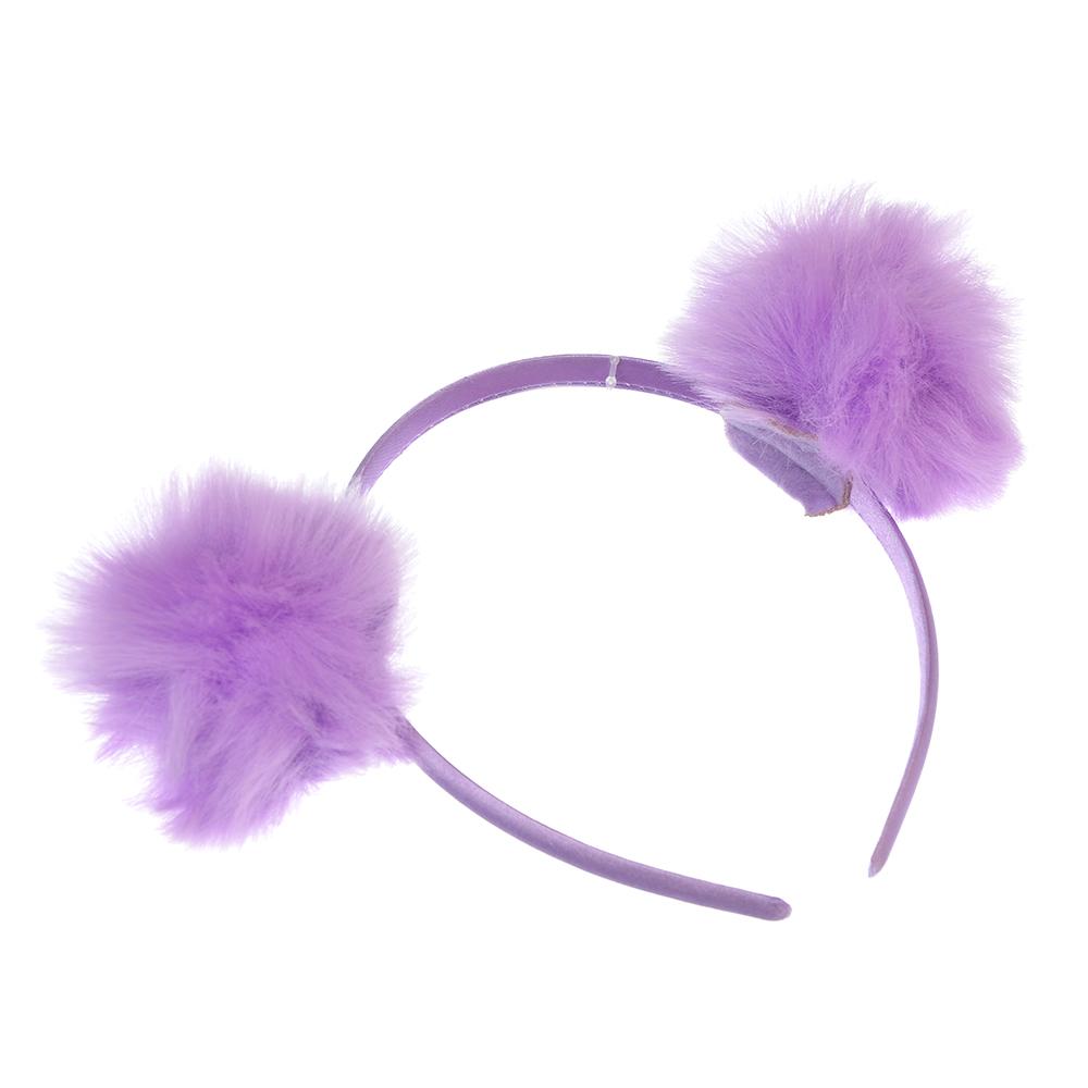 Ободок для волос с декором, искусcтвенный мех, полиэстер, пластик, 0,9 см, 3 цвета
