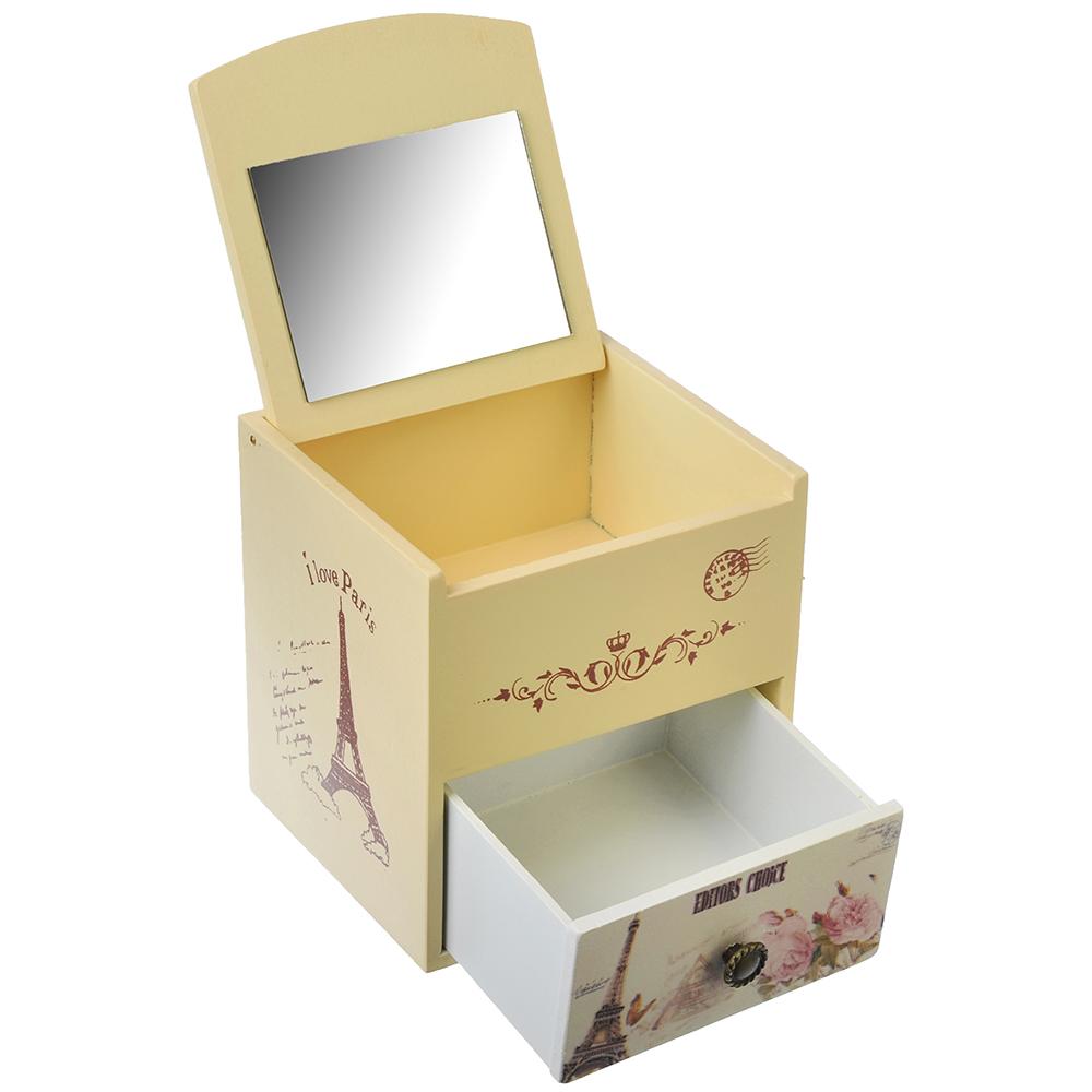 Шкатулка для украшений с зеркалом, МДФ, 11х10,5х10,8 см