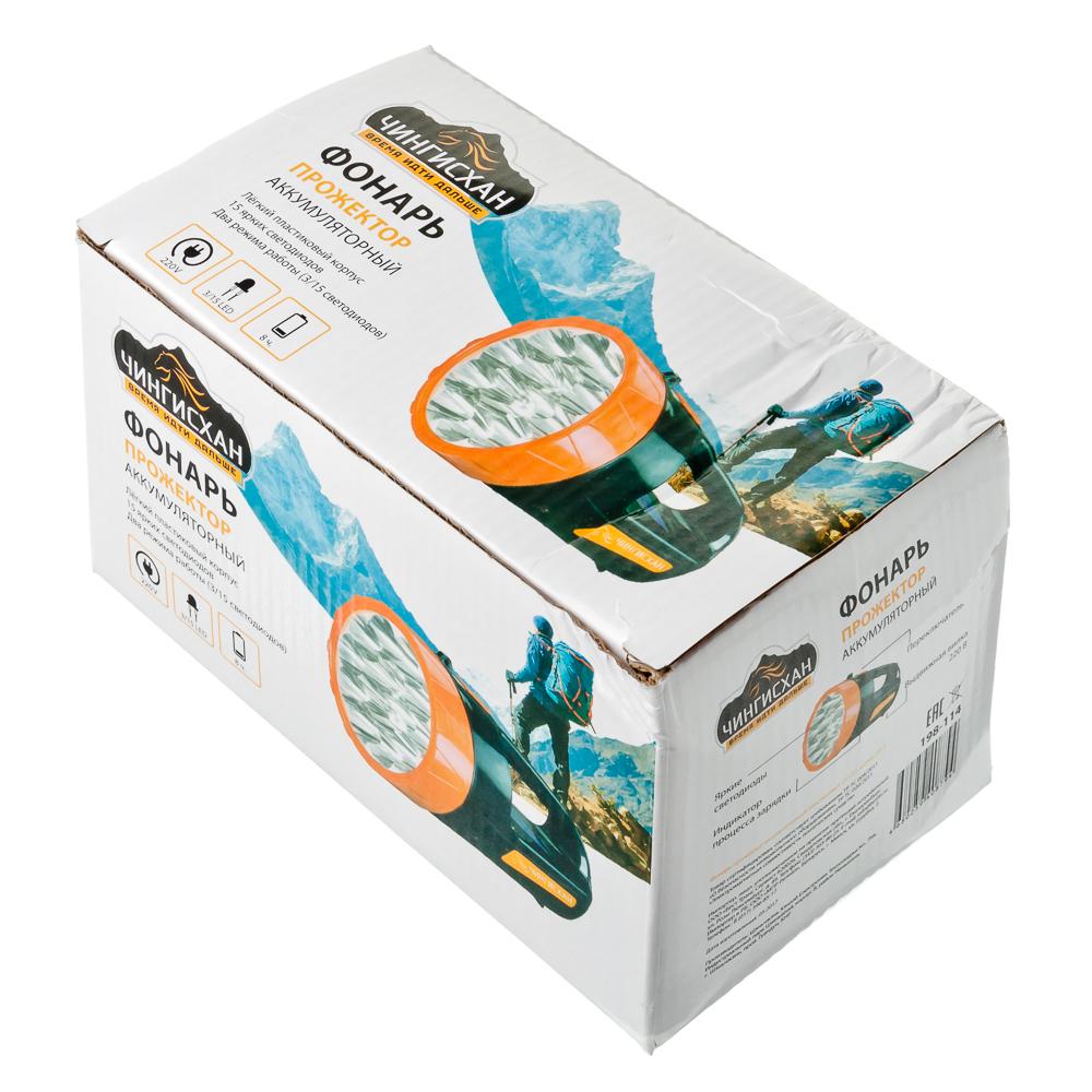 ЧИНГИСХАН Фонарь прожектор 15 ярк. LED, вилка 220В, пластик, 18x10 см