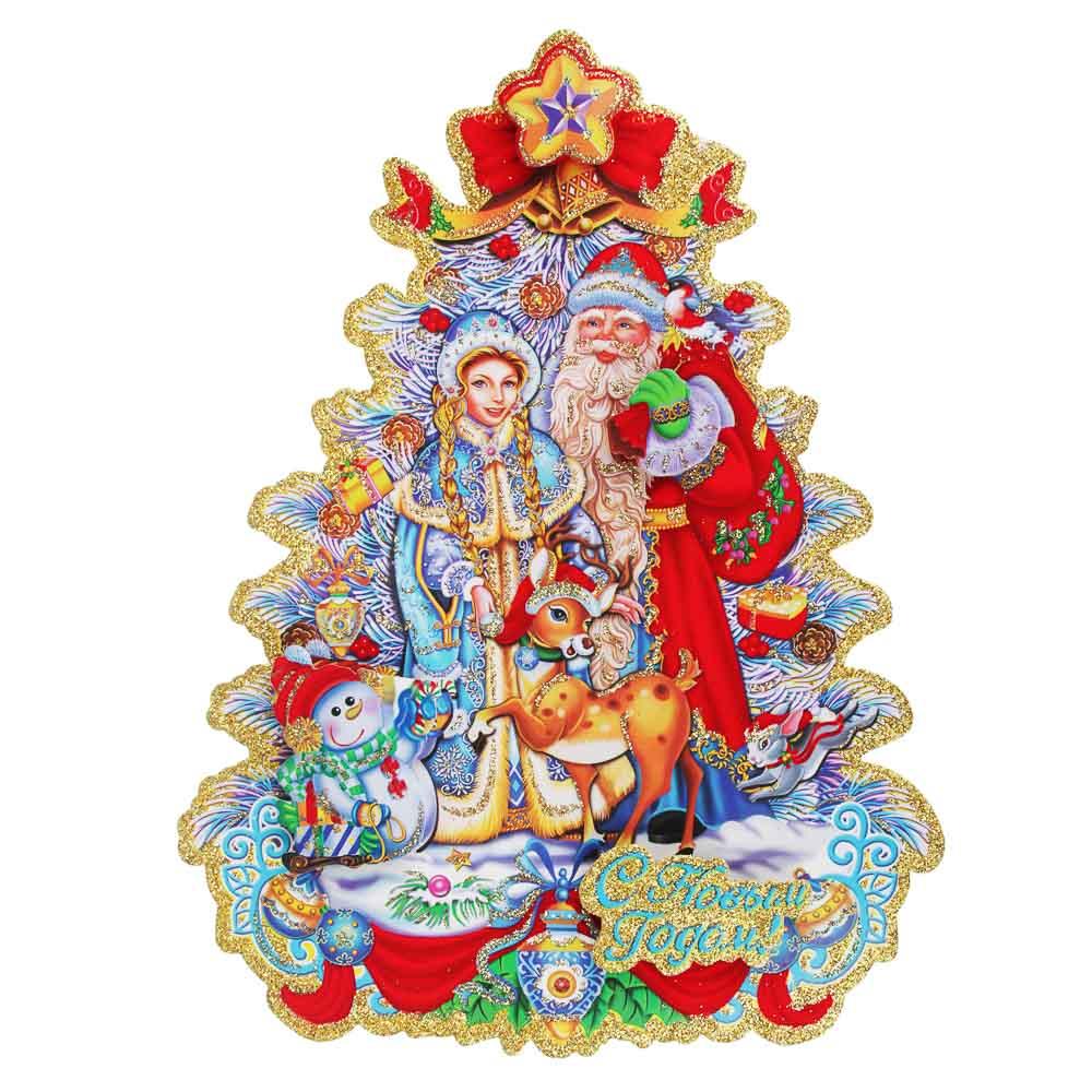СНОУ БУМ Панно бумажное с Дедом Морозом и Снегурочкой, 32х25см