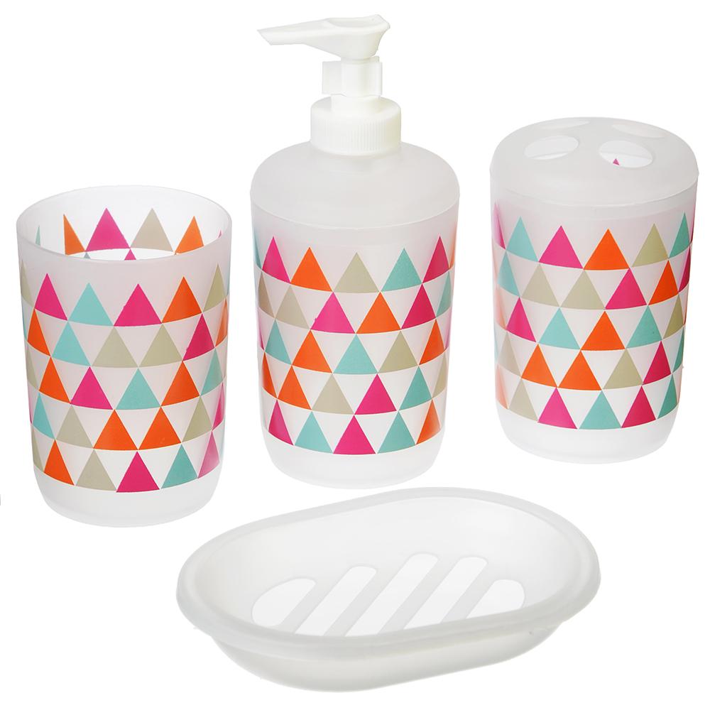 Набор для ванной 4 предмета, пластик, в прозрачном боксе, треугольники красный, VETTA