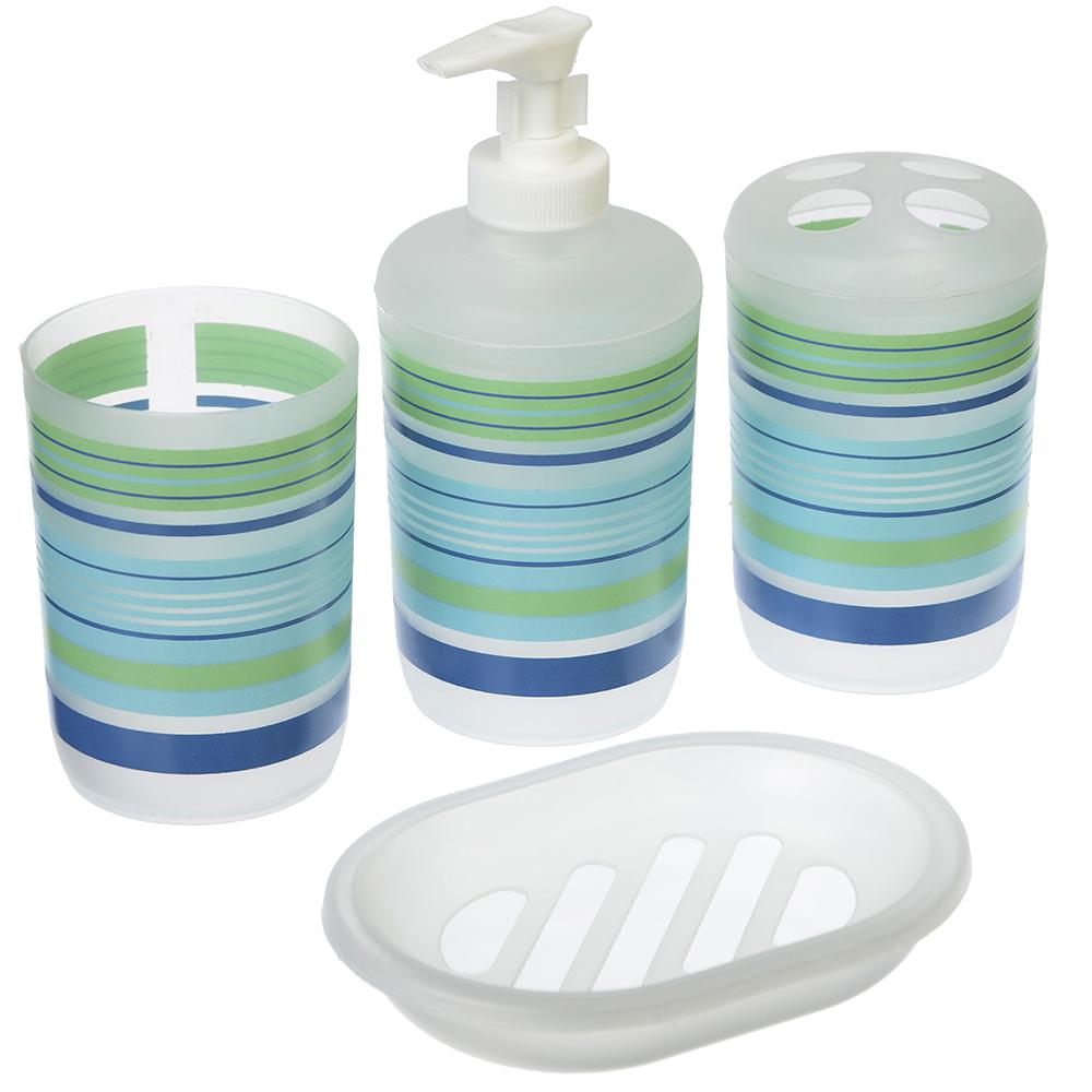 VETTA Набор для ванной 4 пр., пластик, в прозрачном боксе, полоска голубой