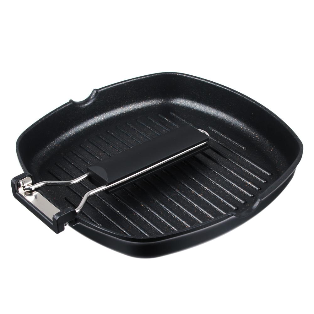 Сковорода-гриль 24х24 см СЛАВЯНА Кобальт, литая с антипригарным покрытием, индукция