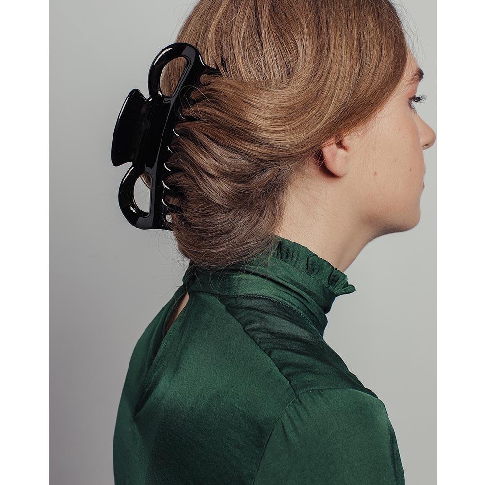 Заколка-краб для волос, пластик, металл, 14 см, черный