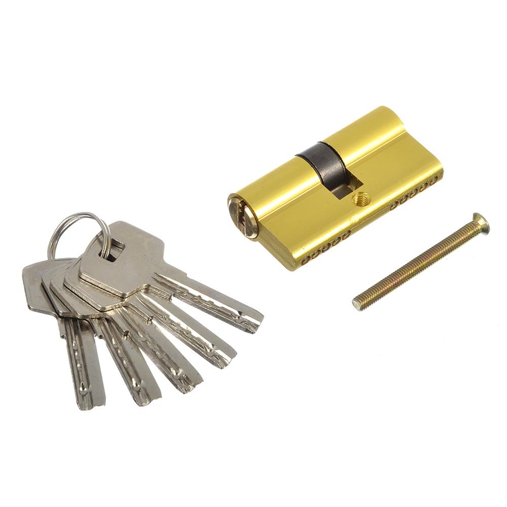 Сердцевина замка/ Цилиндровый механизм (алюминий/цинк) 60мм(30+30), кл-кл, 5кл (перфо), золото