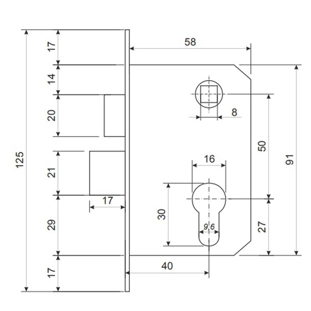 Замок врезной 0823/60, ключ-ключ, м/о 50мм, хром