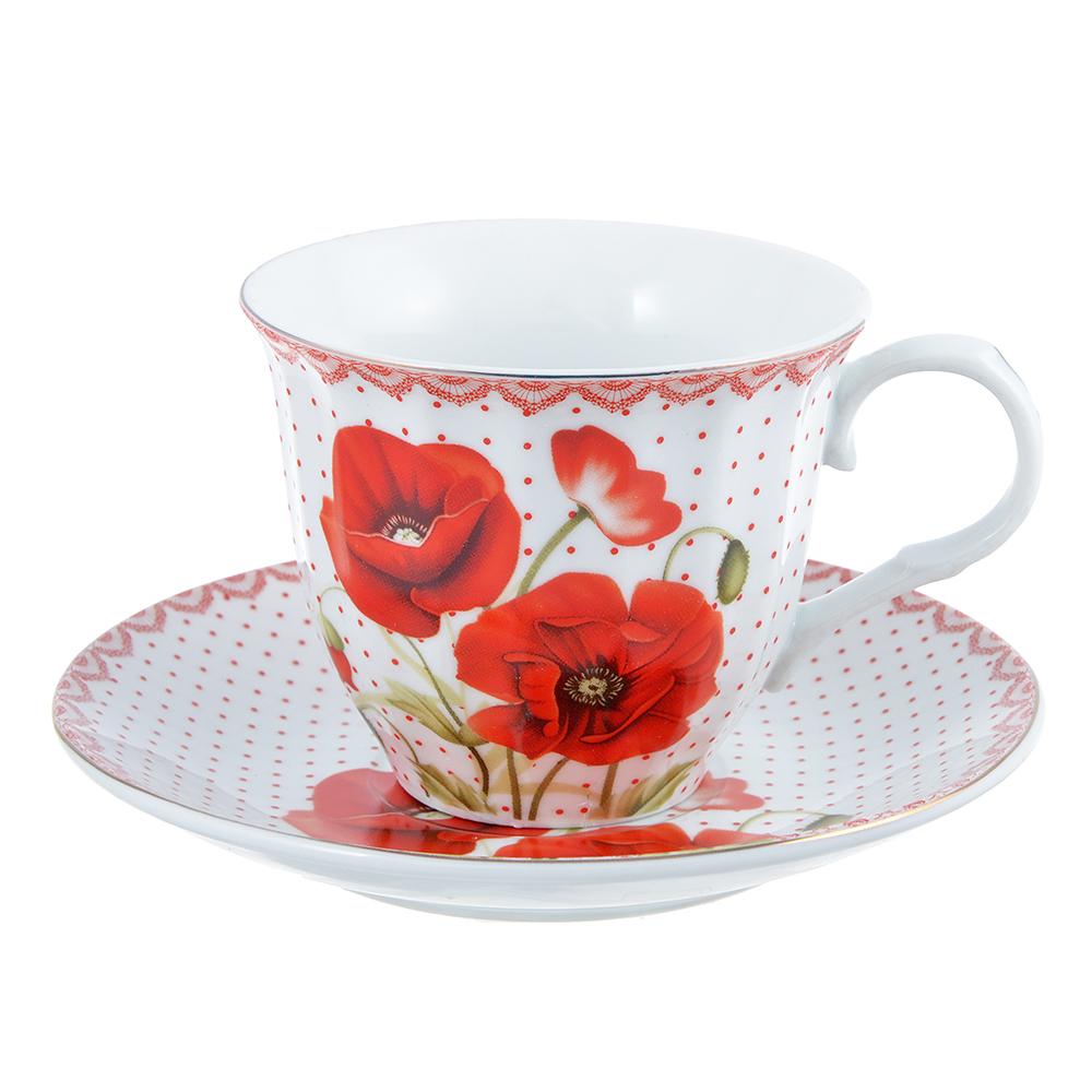 """Чайный сервиз 2 предмета, фарфор, 220 мл, """"Маков цвет"""""""