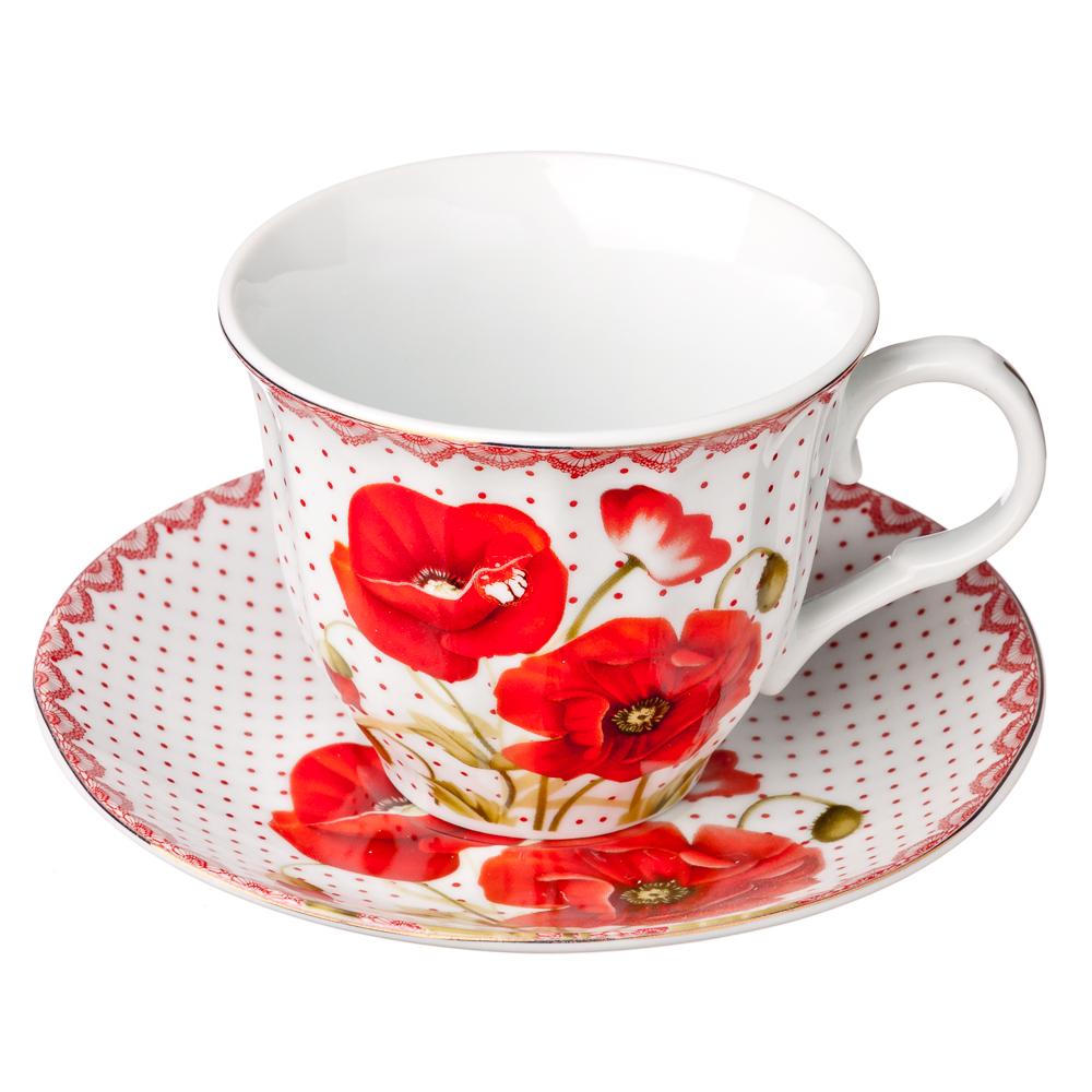 """Чайный сервиз 12 предметов, фарфор, 220 мл, """"Маков цвет"""""""