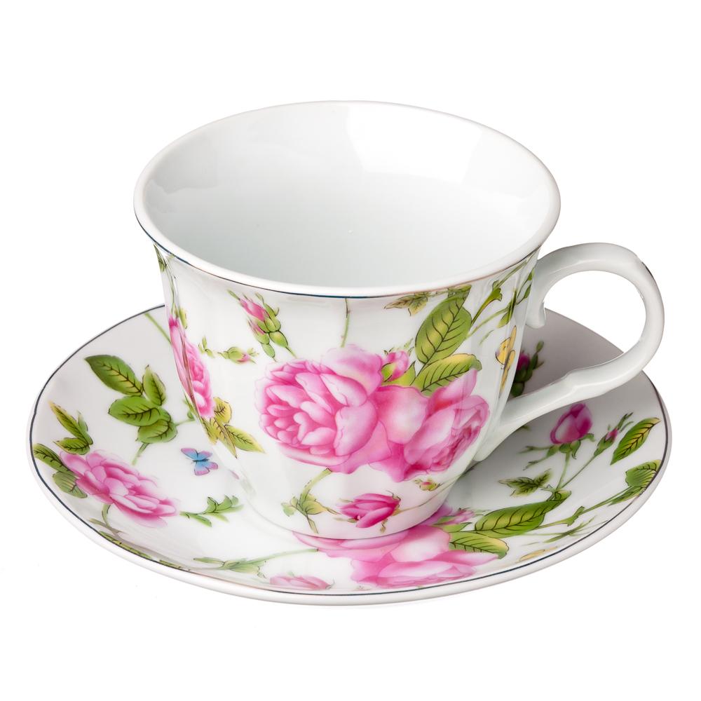 """Чайный сервиз 2 предметов, фарфор, 220 мл, """"Летний сад"""""""