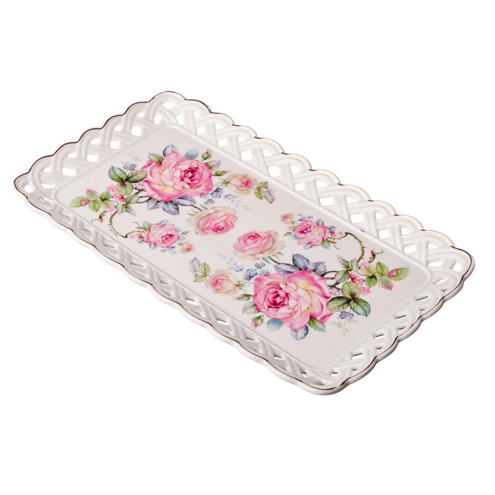 """Тарелка прямоугольная, костяной фарфор, 30.6х17х2.3 см, """"MILLIMI Роза"""""""