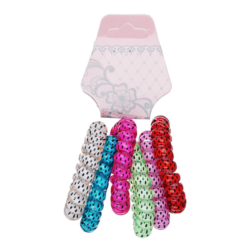 Набор резинок-спиралек для волос, 6шт., пластик, 5,5 см, 6 цветов, #18