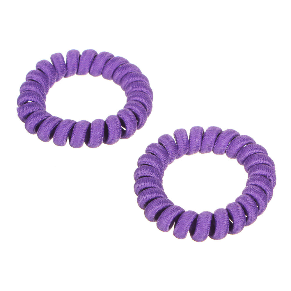 Набор резинок-спиралек для волос, 6шт., пластик, полиэстер, 5,5 см, 6 цветов, #19