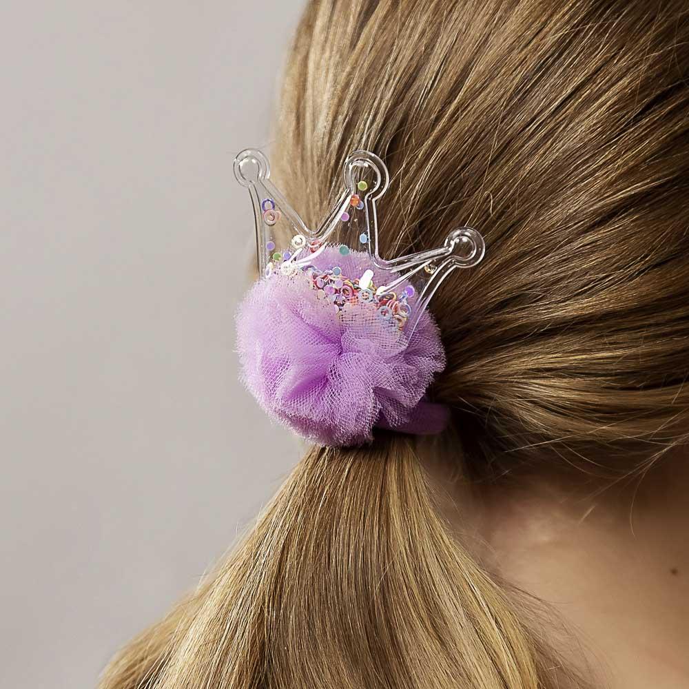 Резинка для волос с декором, полиэстер, d6 см, 4 цвета