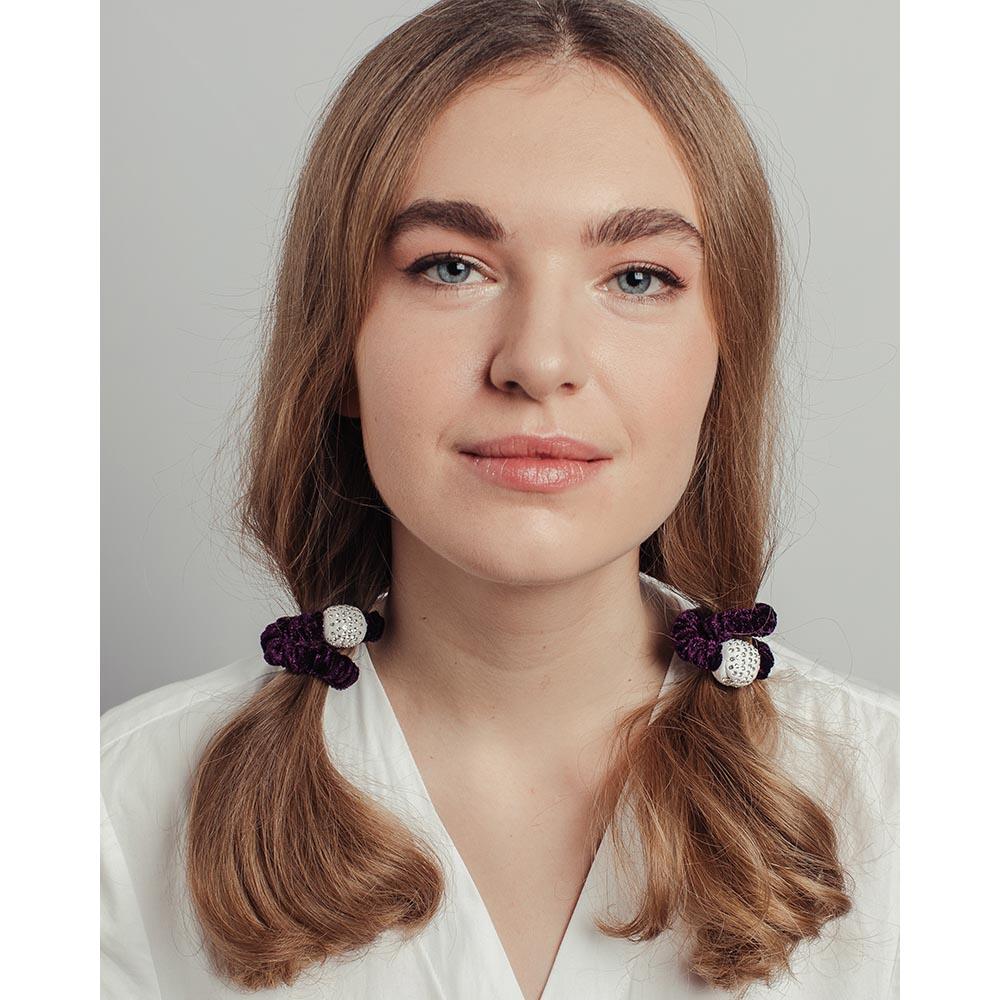 Резинка для волос с декором, полиэстер, пластик, 6 цветов, #59