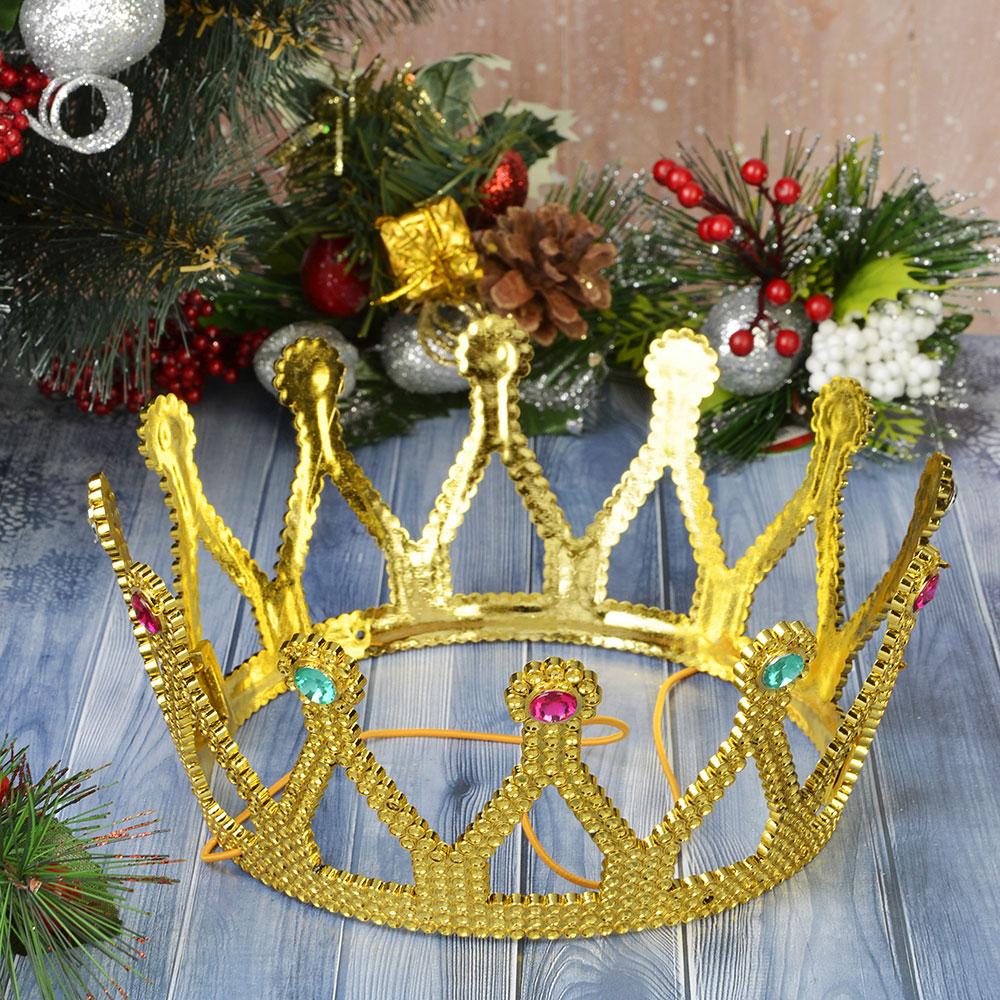 Корона карнавальная, пластик, 8,5х15 см, 2 дизайна, СНОУ БУМ