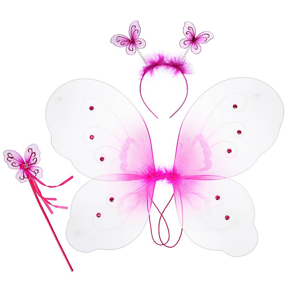 Костюм карнавальный с крылышками 3 предмета, полиэстер, 35х42 см, 3 дизайна, СНОУ БУМ