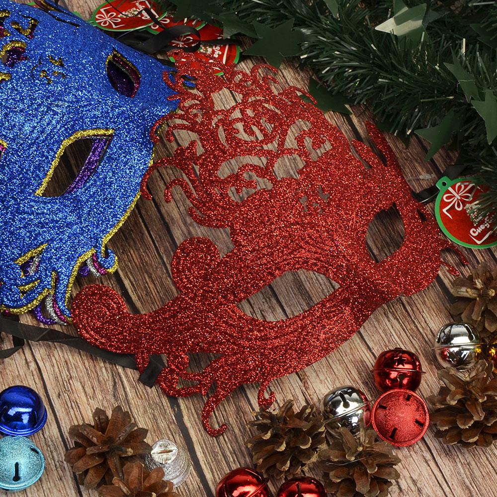 Маска карнавальная, пластик, полиэстер, 19х22 см, 6 цветов, СНОУ БУМ