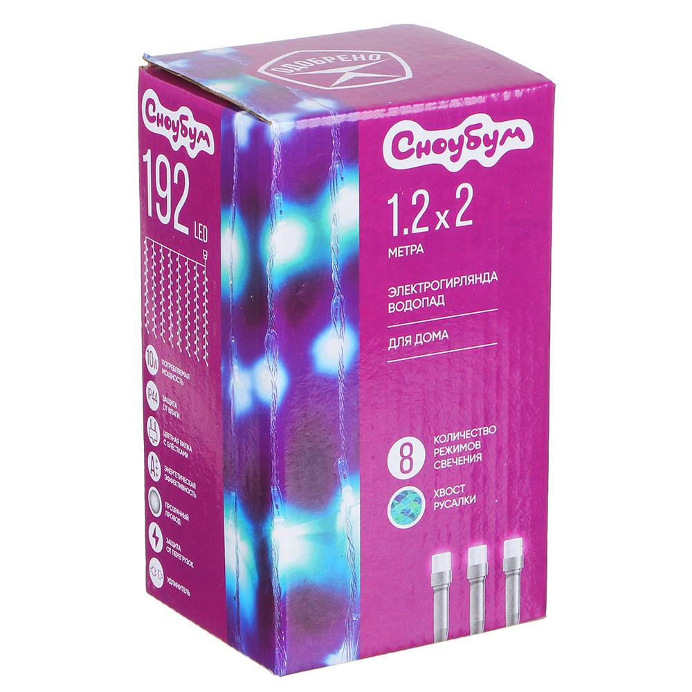 Гирлянда светодиодная водопад СНОУ БУМ 192 LED, 1,2х2 м, 8 нитей, хвост русалки, аква/голубой